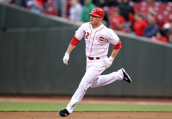 Jay Bruce's 10 home runs rank third among NL outfielders.