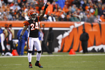 CINCINNATI, OH - NOVEMBER 27: Adam Jones #24 of the Cincinnati Bengals points to the sky in between plays against the Cleveland Browns at Paul Brown Stadium on November 27, 2011 in Cincinnati, Ohio.  (Photo by Tyler Barrick/Getty Images)