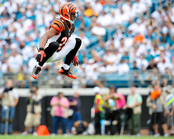 JACKSONVILLE, FL - OCTOBER 09:  Leon Hall #29 of the Cincinnati Bengals stays loose between plays against the Jacksonville Jaguars during play at EverBank Field on October 9, 2011 in Jacksonville, Florida. Cincinnati won 30-20.  (Photo by Grant Halverson/