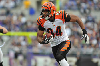 BALTIMORE - NOVEMBER 20:  Jermaine Gresham #84 of the Cincinnati Bengals runs the ball against the Baltimore Ravens at M&T Bank Stadium on November 20,  2011 in Baltimore, Maryland. The Ravens defeated the Bengals 31-24. (Photo by Larry French/Getty Image