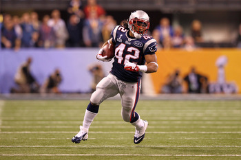 INDIANAPOLIS, IN - FEBRUARY 05:  BenJarvus Green-Ellis #42 of the New England Patriots runs the ball against the New York Giants during Super Bowl XLVI at Lucas Oil Stadium on February 5, 2012 in Indianapolis, Indiana. The Giants won 21-17. (Photo by Al B