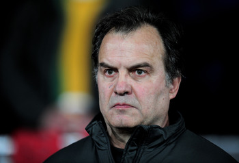 MANCHESTER, ENGLAND - MARCH 08:  Athletic Bilbao Head Coach Marcelo Bielsa Caldera looks on prior to the UEFA Europa League Round of 16 first leg match between Manchester United and Athletic Bilbao at Old Trafford on March 8, 2012 in Manchester, England.