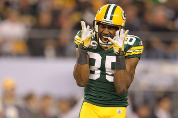 Greg Jennings reacts after making the biggest catch of his career in Super Bowl XLV.