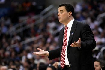 LOS ANGELES, CA - MARCH 09:  Head coach Sean Miller of the Arizona Wildcats reacts in the first half while taking on the Oregon State Beavers in the semifinals of the 2012 Pacific Life Pac-12 men's basketball tournament at Staples Center on March 9, 2012