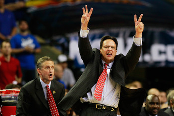 ATLANTA, GA - MARCH 23:  Head coach Tom Crean of the Indiana Hoosiers reacts against the Kentucky Wildcats during the 2012 NCAA Men's Basketball South Regional Semifinal game at the Georgia Dome on March 23, 2012 in Atlanta, Georgia.  (Photo by Kevin C. C