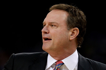 NEW ORLEANS, LA - APRIL 02:  Head coach Bill Self of the Kansas Jayhawks watches the action against the Kentucky Wildcats in the National Championship Game of the 2012 NCAA Division I Men's Basketball Tournament at the Mercedes-Benz Superdome on April 2,