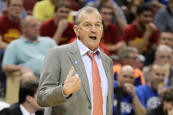 LOUISVILLE, KY - MARCH 15:  Head coach Jim Calhoun of the Connecticut Huskies reacts as he coaches against the Iowa State Cyclones during the second round of the 2012 NCAA Men's Basketball Tournament at KFC YUM! Center on March 15, 2012 in Louisville, Ken