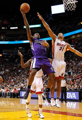 MIAMI, FL - FEBRUARY 21:  Tyreke Evans #13 of the Sacramento Kings shoots over Shane Battier #31 of the Miami Heat during a game at American Airlines Arena on February 21, 2012 in Miami, Florida. NOTE TO USER: User expressly acknowledges and agrees that,