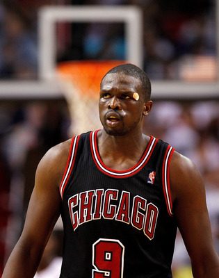 MIAMI, FL - APRIL 19:  Luol Deng #9 of the Chicago Bulls looks on during a game against the Miami Heat at American Airlines Arena on April 19, 2012 in Miami, Florida. NOTE TO USER: User expressly acknowledges and agrees that, by downloading and/or using t