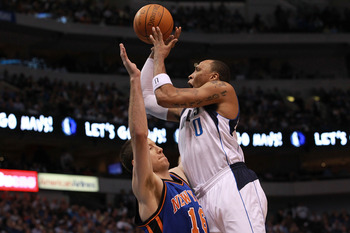 DALLAS, TX - MARCH 06:  Shawn Marion #0 of the Dallas Mavericks takes a shot against Steve Novak #16 of the New York Knicks at American Airlines Center on March 6, 2012 in Dallas, Texas.  NOTE TO USER: User expressly acknowledges and agrees that, by downl