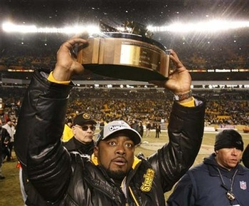 Two Lamar Hunt Trophies and one Lombardi Trophy; Tomlin is still improving as a coach but is a phenomenal natural leader.