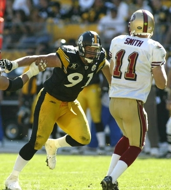 Smith is second only to LC Greenwood in ranking defensive ends in Steeler history.