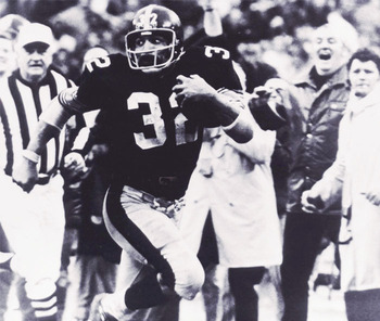 Hall of Fame inductee, 1990; retired No. 3 all-time rushing; the playmaker of the greatest play in NFL history: The Immaculate Reception.