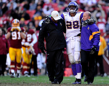 Adrian Peterson tore his ACL in Week 16 and his status for the beginning of 2012 is still up in the air.
