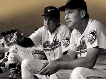 Paul Richards (left) and Luman Harris (right) of the 1958 Orioles