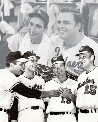 Oriole hurlers (L-R) Wally Bunker, Jim Palmer, Dave McNally, and Moe Drabowski out-hurled the Dodger's Hall of Famer tandem of Sandy Koufax and Don Drysdale