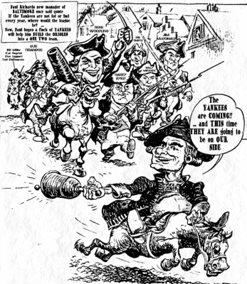 """Paul Revere Richards"" is leading the nine Yanks traded to the Orioles  as depicted by a New York political cartoonist"