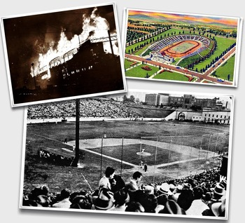 (Top left) Oriole Park burns down (Top Right) Baltimore City offers the use of Municipal Stadium (Bottom) The result