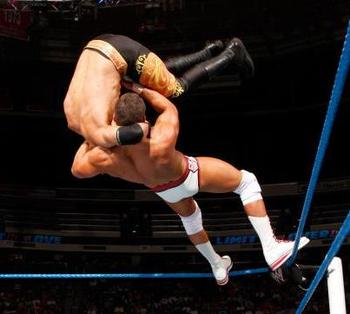 Cody Rhodes superplexes Christian at Over the Limit. (Image courtesy of WrestlingValley.org