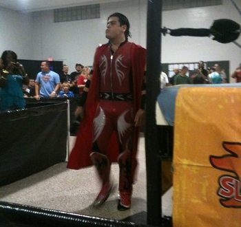 Ricardo Rodriguez as his former in-ring personality, Chimaera. (Image retrieved from forums.somethingawful.com)