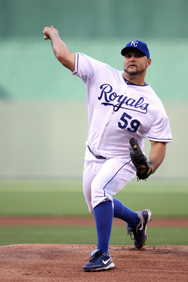 KANSAS CITY, MO - MAY 16:  Starting pitcher Felipe Paulino #59 of the Kansas City Royals warms up prior to the game against the Baltimore Orioles at Kauffman Stadium on May 16, 2012 in Kansas City, Missouri.  (Photo by Jamie Squire/Getty Images)