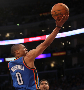 Russell Westbrook coasts in for a layup late in Game 4.