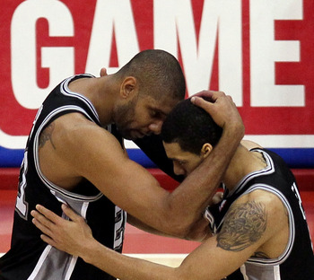 Tim Duncan and Danny Green celebrate the result San Antonio is hoping for in the WCF; a victory.