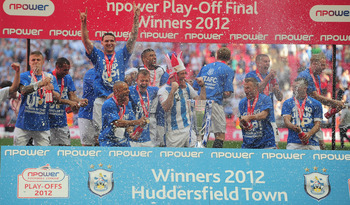 Huddersfield Town celebrates winning the npower League One Play-off Final over Sheffield United.