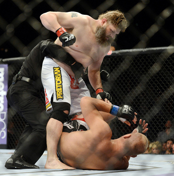 May 26, 2012; Las Vegas, NV, USA; Roy Nelson (top) and Dave Herman fight during UFC 146 at the MGM Grand Garden event center. Mandatory Credit: Ron Chenoy-US PRESSWIRE