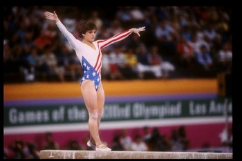 1984:  Mary Lou Retton of the United States in action on the balance beam during the Summer Olympics in Los Angeles, California. Mandatory Credit: Steve Powell  /Allsport