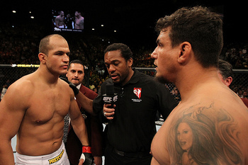 LAS VEGAS, NV - MAY 26: Junior dos Santos (left) and Frank Mir (right) faceoff before the Heavyweight Championship bout at UFC 146 at MGM Grand Garden Arena on May 26, 2012 in Las Vegas, Nevada. (Photo by Josh Hedges/Zuffa LLC/Zuffa LLC via Getty Images)