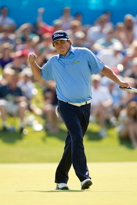 Jason Dufner watching his winning putt roll in at the HP Byron Nelson Championship