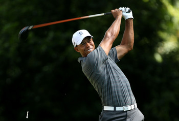 AUGUSTA, GA - APRIL 05:  Tiger Woods hits a tee shot into the rough on the second hole during the first round of the 2012 Masters Tournament at Augusta National Golf Club on April 5, 2012 in Augusta, Georgia.  (Photo by Andrew Redington/Getty Images)