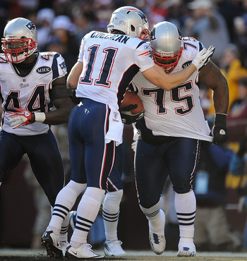 Edelman celebrating a Vince Wilfork interception in 2011.