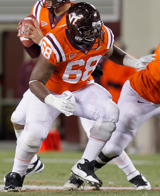 Undrafted rookie Jaymes Brooks blocking at Virginia Tech
