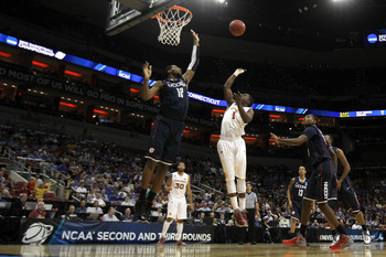 Andre Drummond tries to block a shot in the NCAA Tournament.