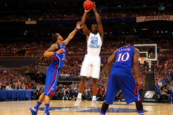 Harrison Barnes takes a shot in the Elite 8 of the 2012 NCAA Tournament.
