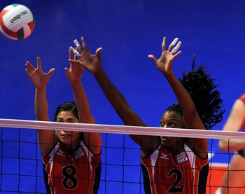 The U.S. women's volleyball team in action.