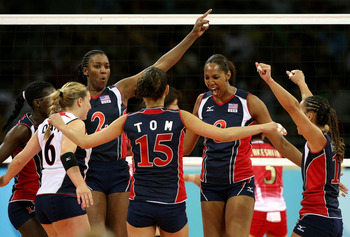 The U.S. women's volleyball team shows off their confident spirit.
