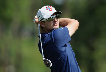 DUBLIN, OH - MAY 31: Justin Rose of England hits a shot on the 11th hole during the first round of the Memorial Tournament presented by Nationwide Insurance at Muirfield Village Golf Club on May 31, 2012 in Dublin, Ohio.  (Photo by Scott Halleran/Getty Im