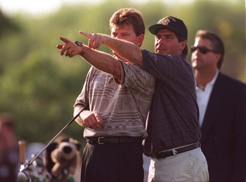 Nick Price and Fred Couples circa 1995
