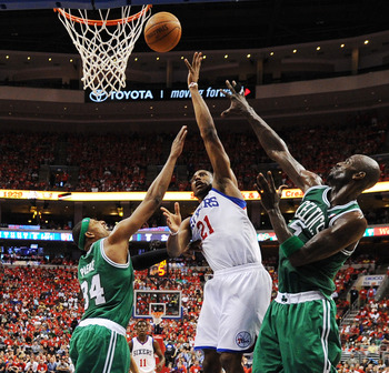 Thaddeus Young puts up a floater in Game 4 of the 76ers-Celtics series.