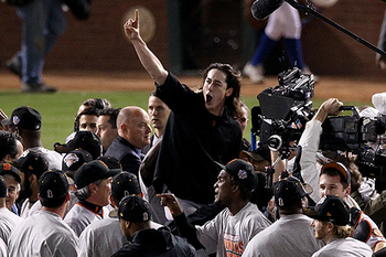 Giants ace Tim Lincecum celebrating San Francisco's first World Series championship.