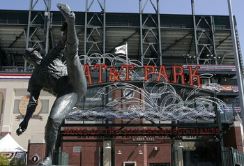 Statue outside of AT&amp;T Park of Juan Marichal and his famous leg kick.