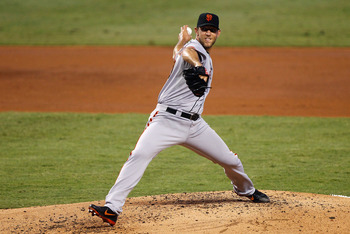 Madison Bumgarner throws a pitch against the Marlins on May 26.