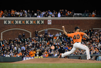 "Madison Bumgarner pitches with the ""K Wall"" behind him, showing off Bumgarner's 11 strikeouts."