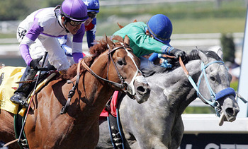 I'll Have Another edges Creative Cause to win the Santa Anita Derby. (photo via ntra.com)