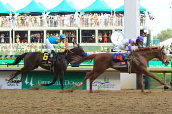 I'll Have Another wins the Kentucky Derby after catching Bodemeister in the final half-furlong