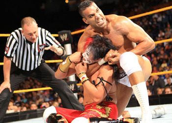 Jinder Mahal vs. Yoshi Tatsu from an episode of NXT in 2011 (Image courtesy of wwe.sify.com)