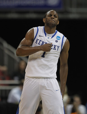 LOUISVILLE, KY - MARCH 17:  Darius Miller #1 of the Kentucky Wildcats celebrates hitting a shot against the Iowa State Cyclones during the third round of the 2012 NCAA Men's Basketball Tournament at KFC YUM! Center on March 15, 2012 in Louisville, Kentuck